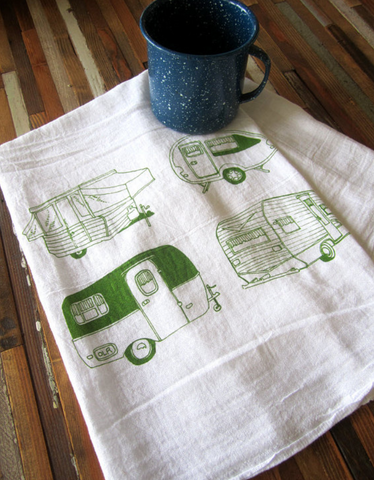 Handprinted Tea Towel- Vintage Campers