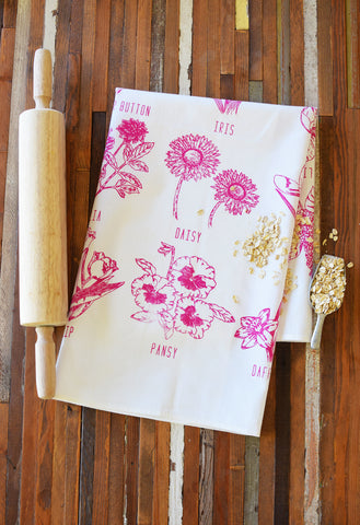 Handprinted Tea Towel - Flower Garden