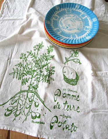 Handprinted Tea Towel - Potato
