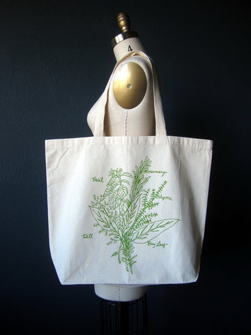 Cotton Tote Bag - Herb Bunch