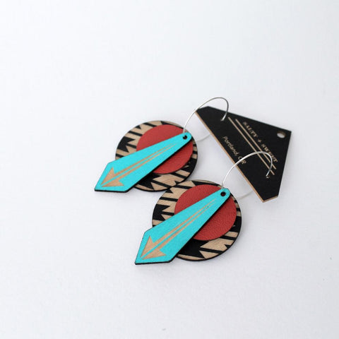 Lightweight Wood + Leather Earrings- Red Southwestern