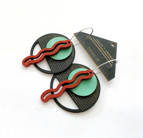 Layered Squiggle Earrings - Brick