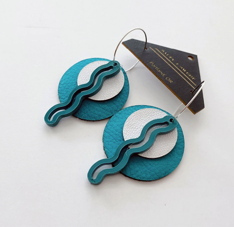 Layered Squiggle Earrings - Teal