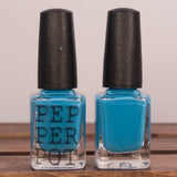 "pepper pot polish bottles of bright blue ""so right it's sarong"""