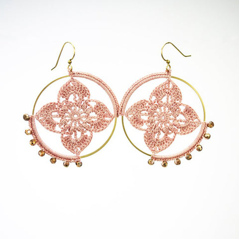 Moss Handmade Jewelry hand crochet mandala earrings in pink