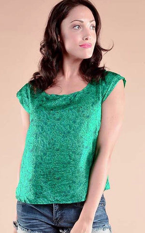 Indie Ella Radha Blouse in recycled green silk