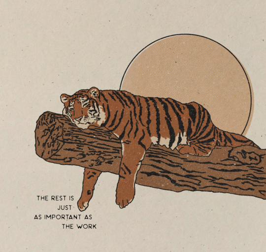 """Rest"" Tiger Art print"
