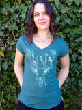 Woodland Creatures Women's Tee - Dark Green Heather