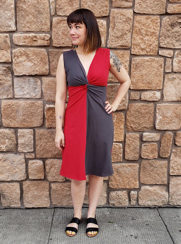 Phoebe Dress in Red+Grey Organic Cotton