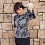 Gina Blouse - Black and White Linear Print