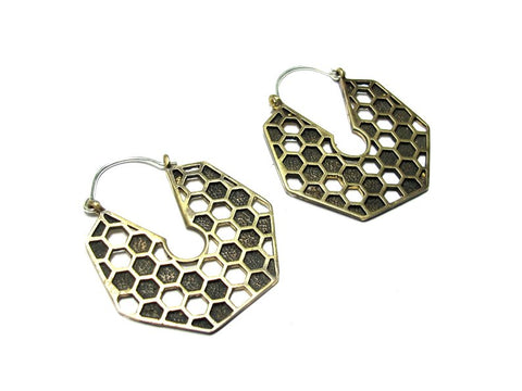 Honeycomb Hoop Earrings in Brass