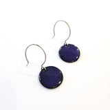 Ruby Girl Jewelry enameled copper dot earrings in dark blue