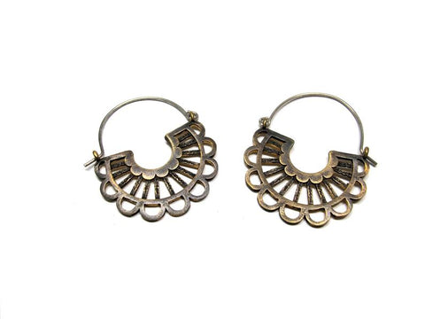 Lace Hoops in Brass