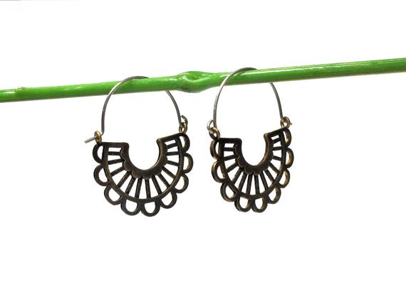 Lace Hoops in Sterling Silver