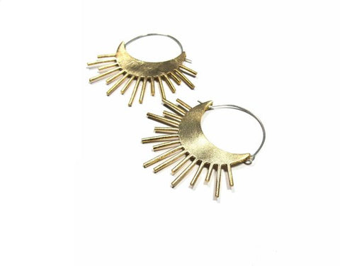 Brass Sunburst Earrings