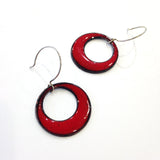 Mod earrings enameled in medium red