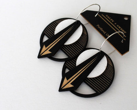 Lightweight Wood and Leather Earrings - Arrow in Black