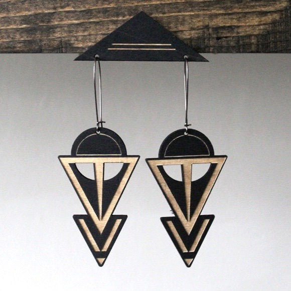 Salty and Sweet Laser cut Coven Hoop Earrings in black