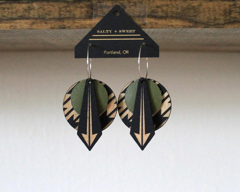 Lightweight Wood and Leather Earrings - Olive Arrow