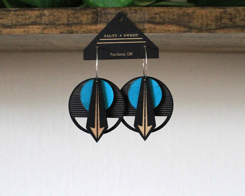 Lasercut Wood + Leather Earrings - Arrow in Turquoise