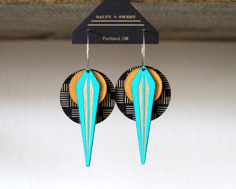 Lightweight Wood+Leather Earrings - La Naja Yellow on Geo