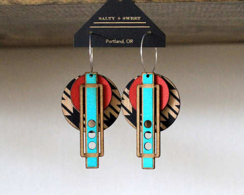 Lasercut Wood + Leather Earrings - Wright Red on Southwestern