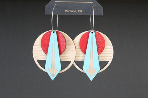 Lightweight Wood and Leather Earrings- Red Arrow