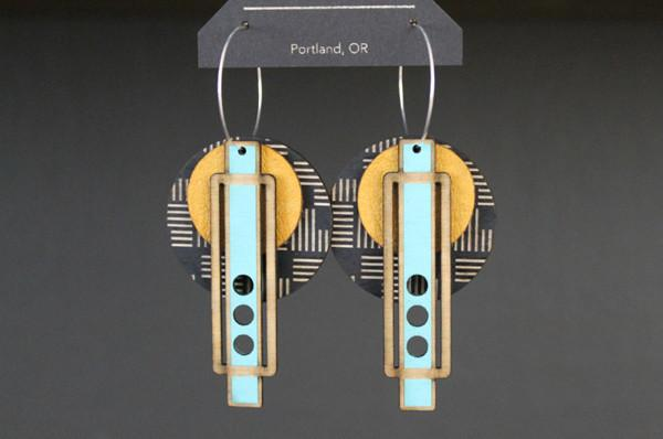 Lightweight Wood + Leather Earrings - Geo Wright