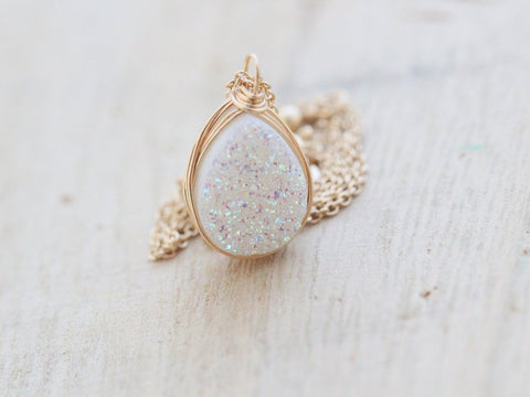 Small Druzy Teardrop Pendant Necklace