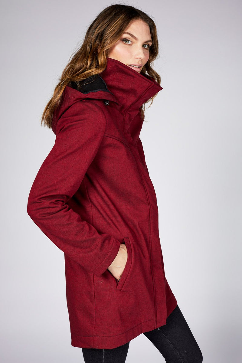 Stella Rain Jacket with Microfleece interior in Oxblood Red