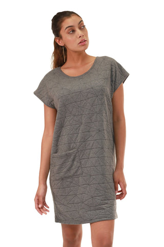 T-Shirt Dress in Grey Quilt