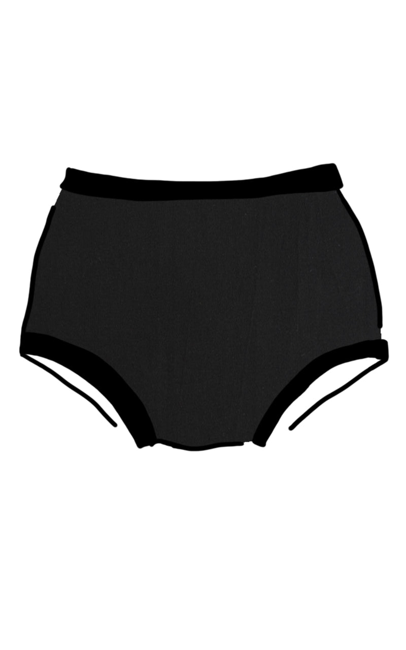 Thunderpants USA original cut women's briefs in solid black cotton
