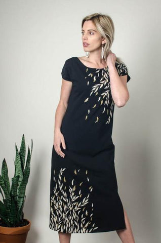 Long Black Anja Dress with Willow Print