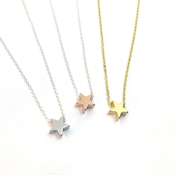 Single tiny star charm necklace in silver, rose gold and gold