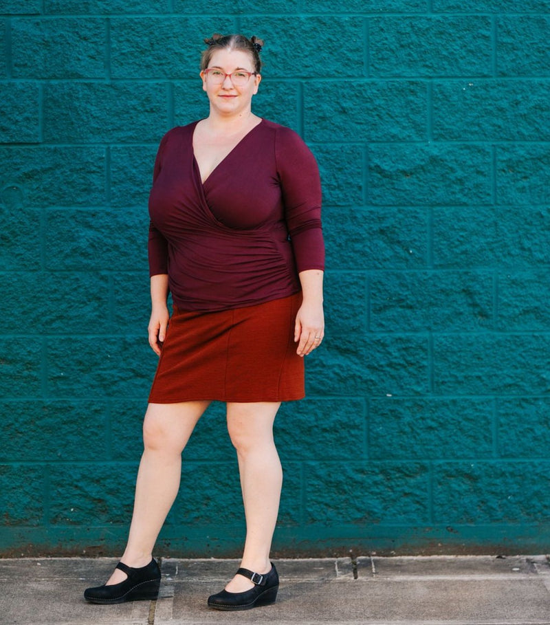 Faux Wrap Top in Burgundy