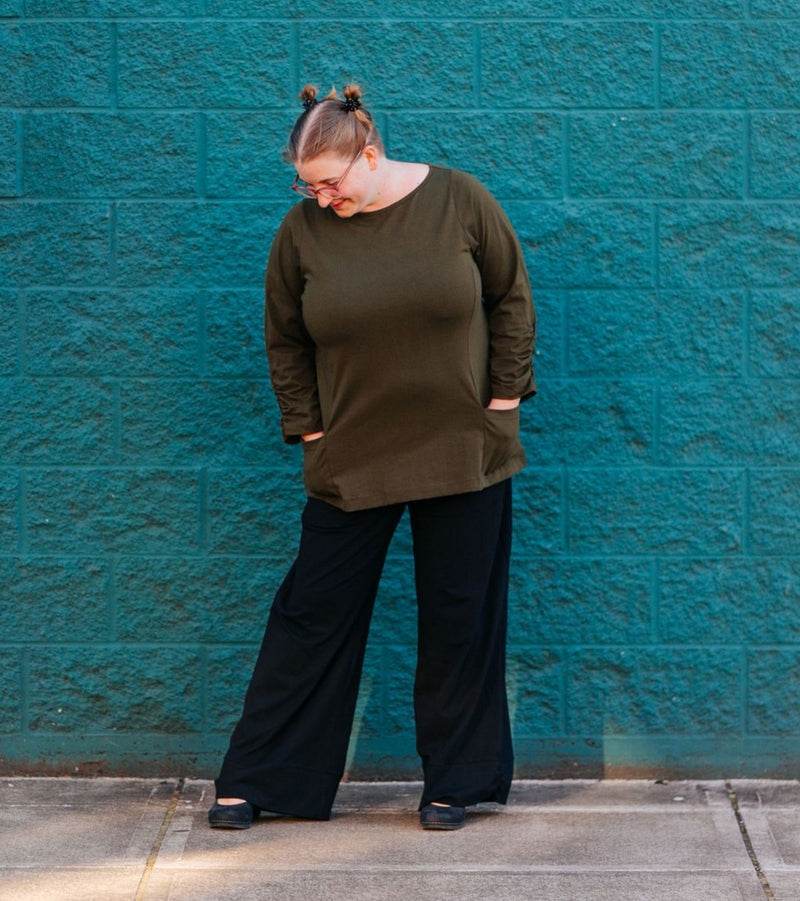 Haiku Top in Olive Cotton Knit