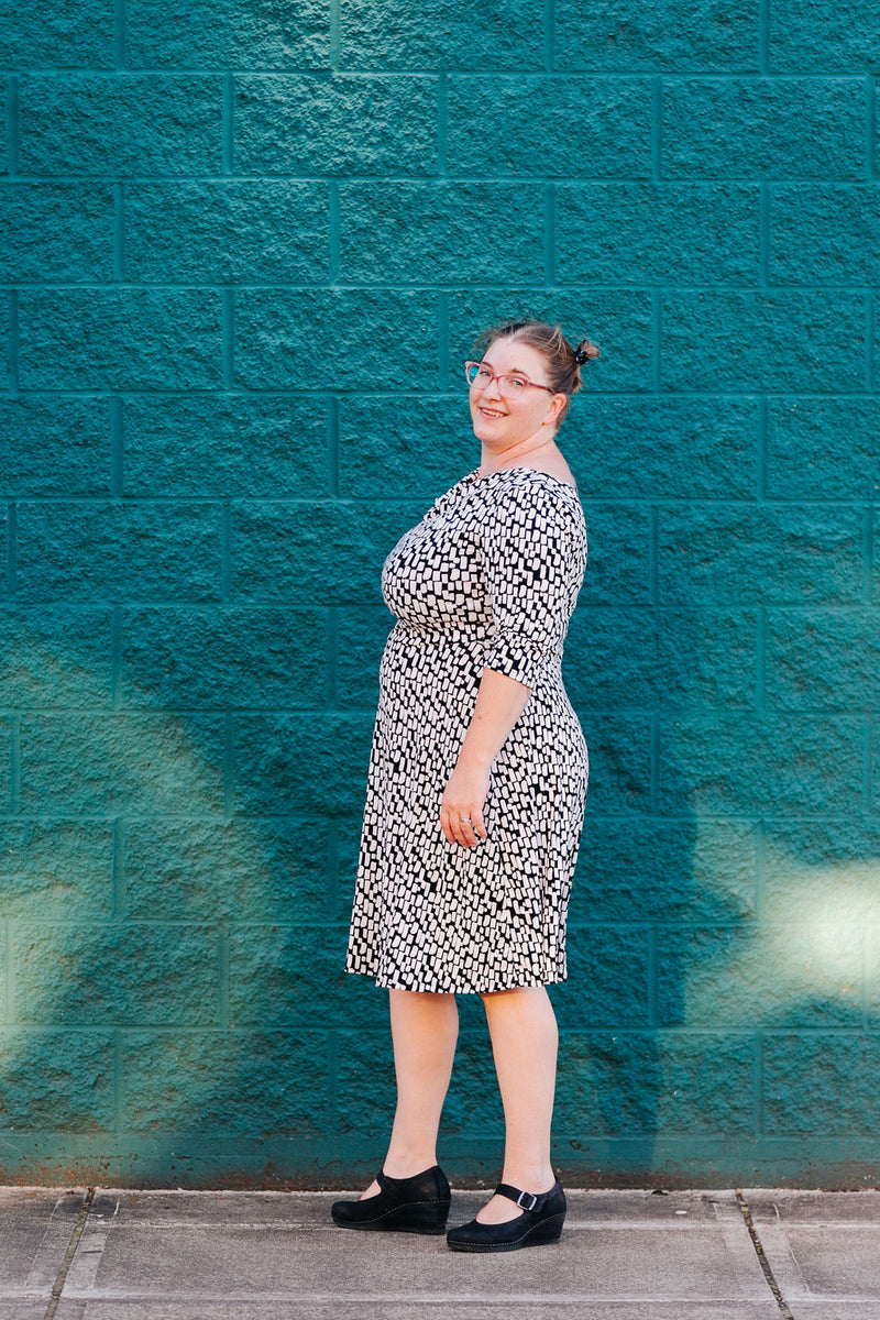 Lizbeth Dress in B+W Dash