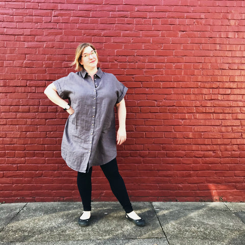 Linen Grey Shirt Dress