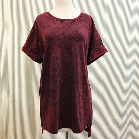 Burgundy Acid Wash T-Shirt