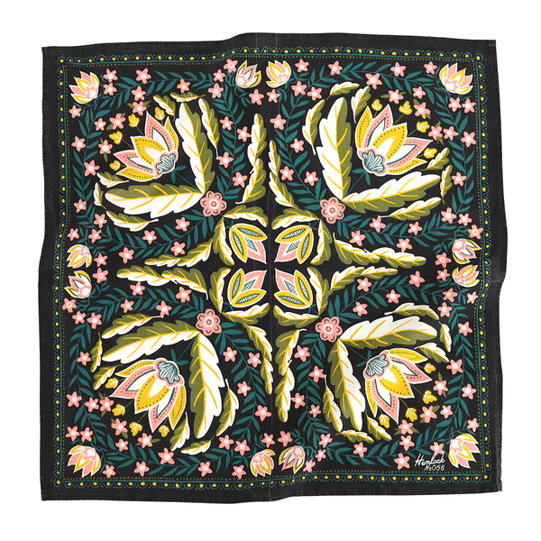 Floral Bandana in Pink, Green, and Black