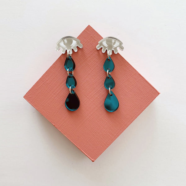 Crying Eyes Earrings - Silver and Teal