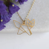 Golden Geometric Fox Necklace