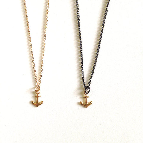 Dainty Brass Anchor charm necklace
