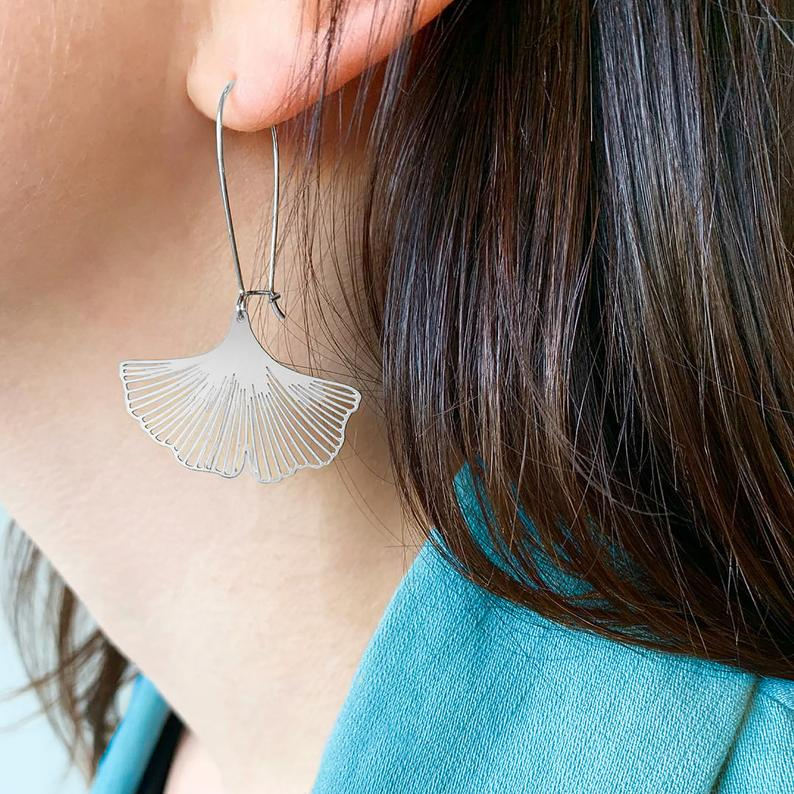 Large Ginkgo Leaf Earrings