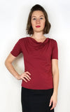 Barbara Cowl Blouse In Claret Red