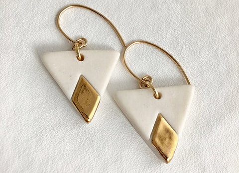 White Modern Gold Painted Porcelain Earrings