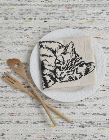 Sleeping Cat Tea Towel