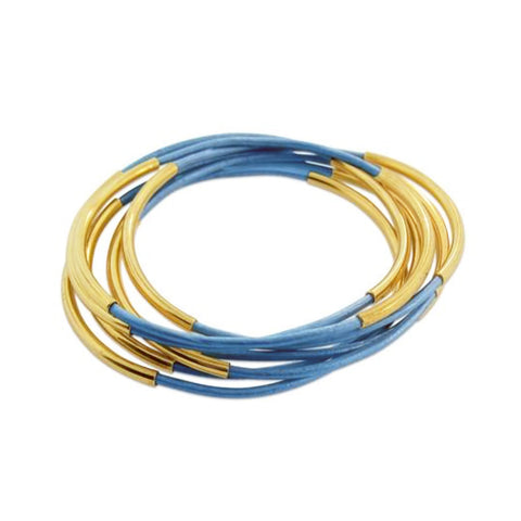 Leather & Gold Bangle Set