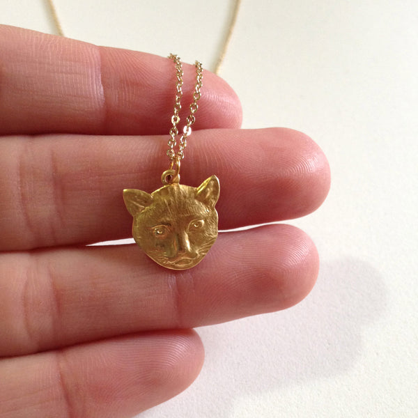 Brass Cat head charm necklace
