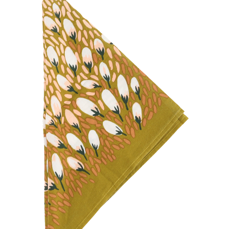 Autumn Bandana in Mustard and Pale Pink